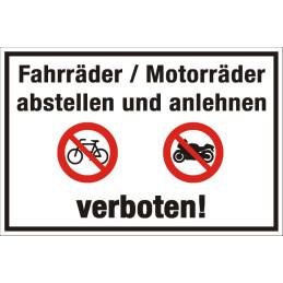 "Verbotsschild ""Fahrrad & Motorrad abstellen verboten"""