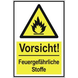 """Warnschild """"Vorsicht - feuergefährlichen Stoffen"""""""
