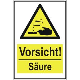 """Warnschild """"Vorsicht! Säure"""""""