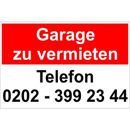 """Hinweisschild """"Garage zu vermieten"""""""