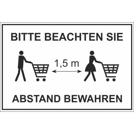 """Schild """"Abstand halten - Einkaufen"""""""