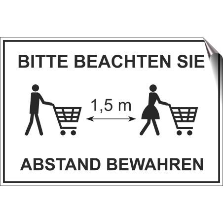 """Aufkleber """"Abstand mit Einkaufswagen"""""""