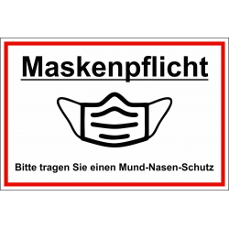 """Hinweisschild """"Maskenpflicht"""""""