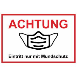 "Hinweisschild ""Mundschutz"""