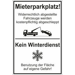 """Schild """"Mieterparkplatz + Winterdienst"""""""