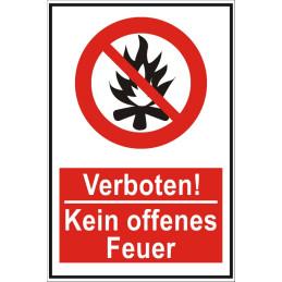 """Verbotsschild """"Kein offenes Feuer"""""""